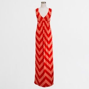 JCREW Chevron orange and coral maxi dress Medium